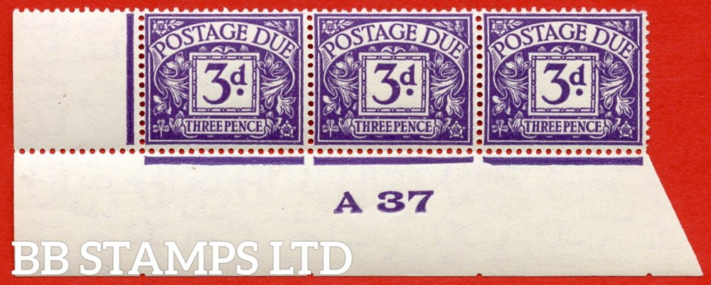 "SG. D22. R22. 3d dull violet. A superb UNMOUNTED MINT "" control A37 imperf "" strip of 3."