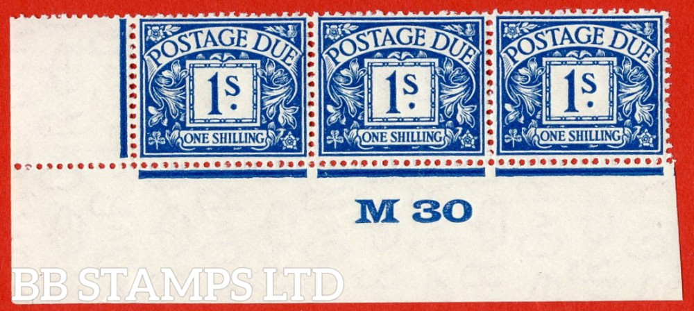 """SG. D17. R17. 1/- deep blue. A fine lightly mounted mint """" control M30 imperf """" strip of 3. A very scarce multiple."""