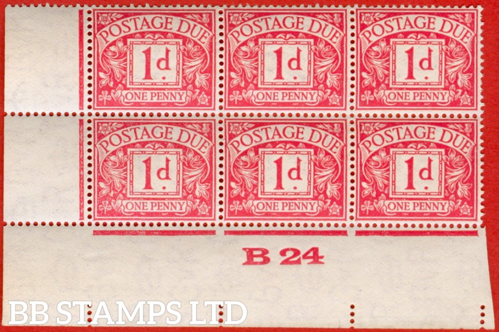 """SG. D11. 1d carmine. A superb UNMOUNTED MINT control """" B24 imperf """" block of 6. A very scarce multiple."""