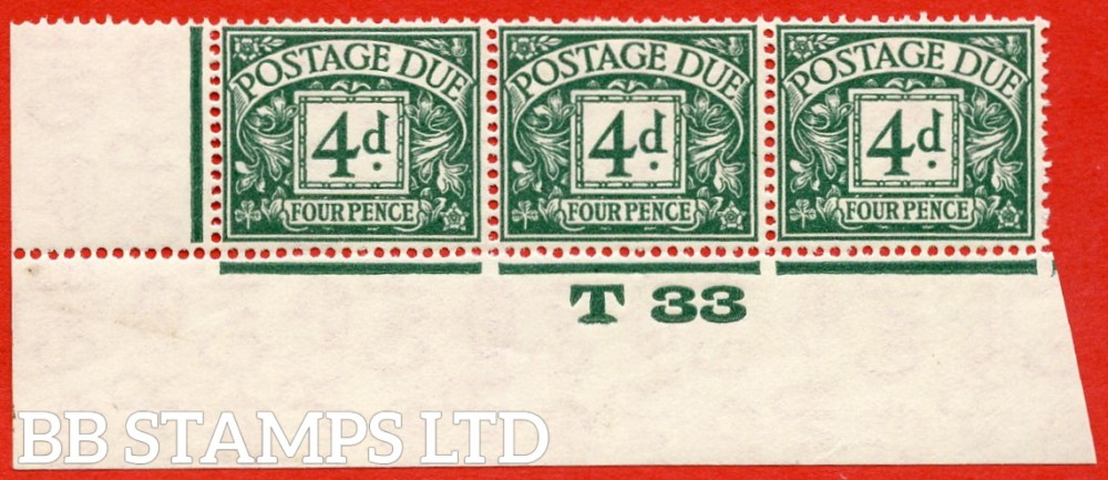 """SG. D15. R15. 4d dull grey - green. A fine lightly mounted mint """" control T33 imperf """" strip of 3. A very scarce multiple."""