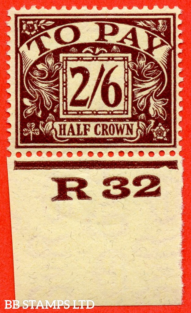 """SG. D18. R18. 2/6 Purple / yellow. A fine mounted mint control """" R32 imperf """" example."""