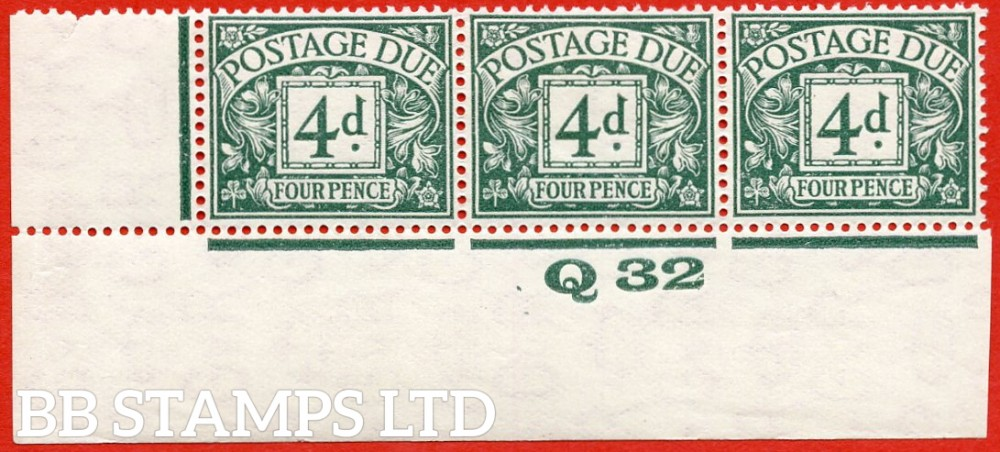 """SG. D15. R15. 4d dull grey - green. A fine lightly mounted mint """" control Q32 imperf """" strip of 3. A very scarce multiple."""