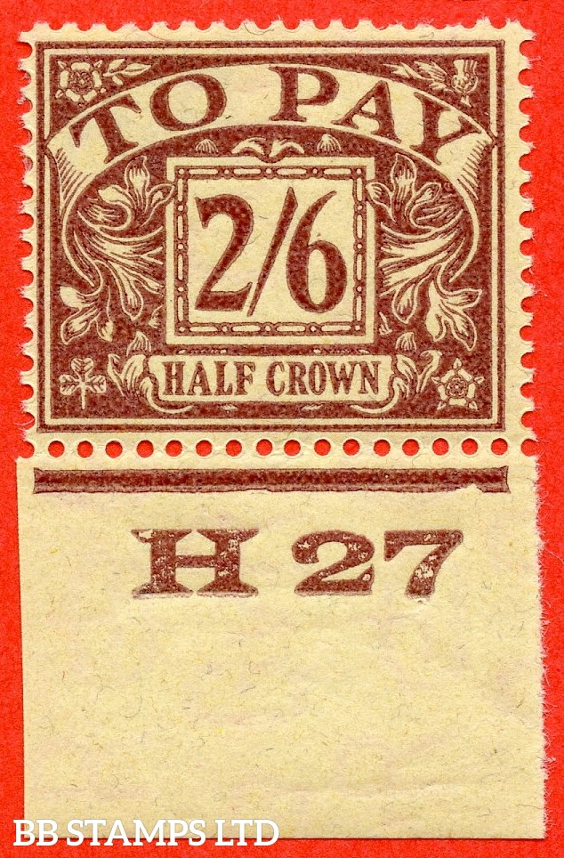 """SG. D18. R18. 2/6 Purple / yellow. A fine mounted mint control """" H27 imperf """" example."""