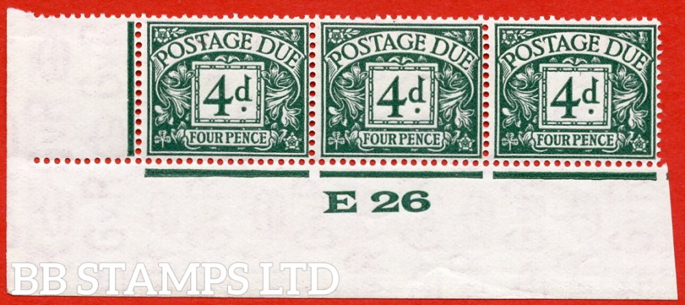 """SG. D15. R15. 4d dull grey - green. A fine lightly mounted mint """" control E26 imperf """" strip of 3. A very scarce multiple."""