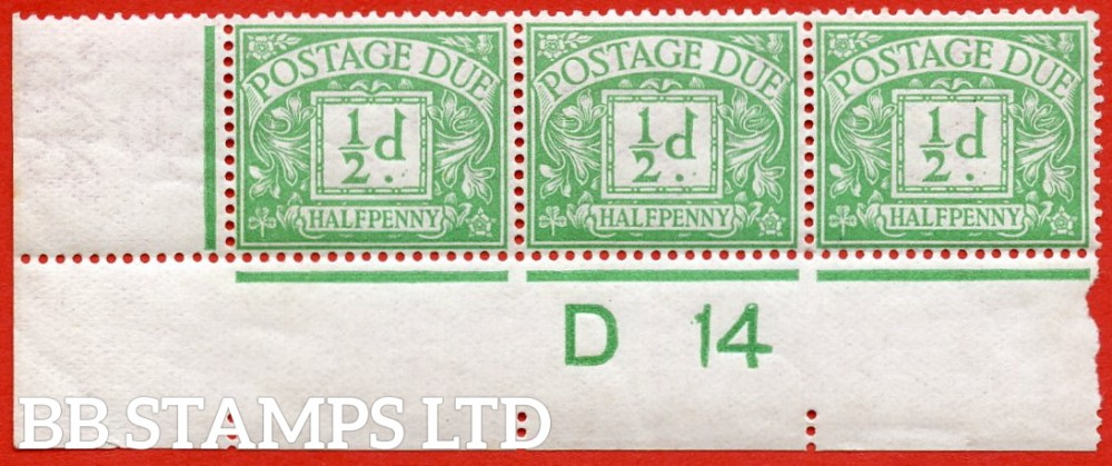 """SG. D1. R1. ½d emerald. A fine UNMOUNTED MINT """" control D14 imperf """" strip of 3."""
