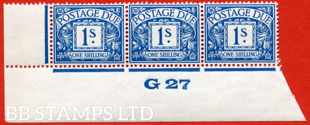"""SG. D17. R17. 1/- deep blue. A superb UNMOUNTED MINT """" control G27 imperf """" strip of 3. A very scarce multiple."""