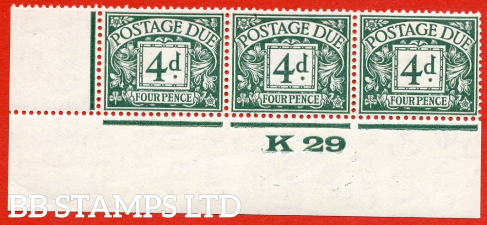 """SG. D15. R15. 4d dull grey - green. A fine lightly mounted mint """" control L29 imperf """" strip of 3. A very scarce multiple."""