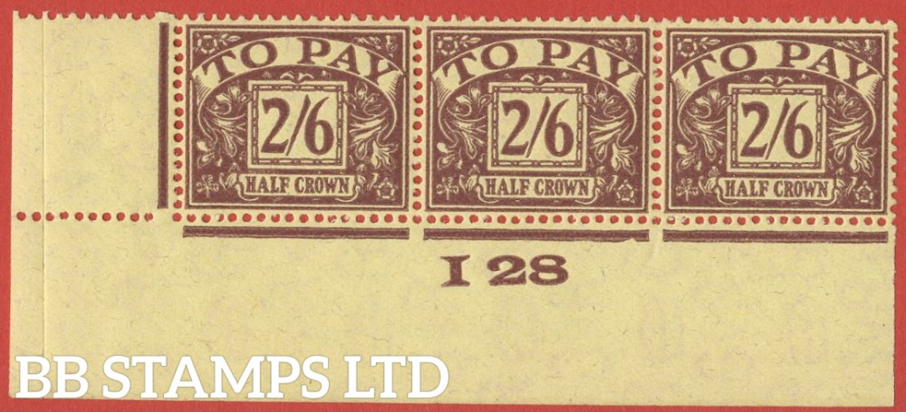"""SG. D18. 2/6 Purple / yellow. A super mint Control """" I28 imperf """" strip of 3. A VERY RARE multiple."""