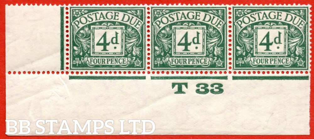 """SG. D15. R15. 4d dull grey - green. A fine UNMOUNTED MINT ( mounted in the margin only ) """" control T33 imperf """" strip of 3. A very scarce multiple."""