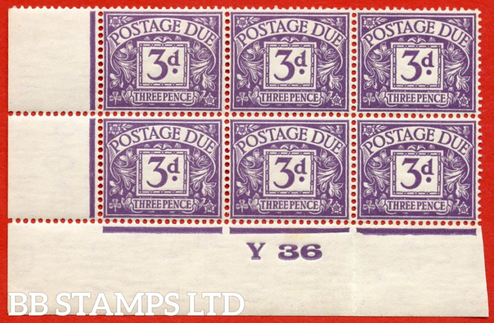 """SG. D14. R14. 3d dull violet. A superb UNMOUNTED MINT """" control Y36 imperf """" block of 6."""