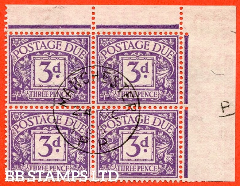 """SG. D14c. R14 b. 3d Dull violet. """" Experimental paper """". A very fine """" 24th October 1925 MANCHESTER """" CDS used top right hand corner marginal block of 4 of this RARE used stamp."""
