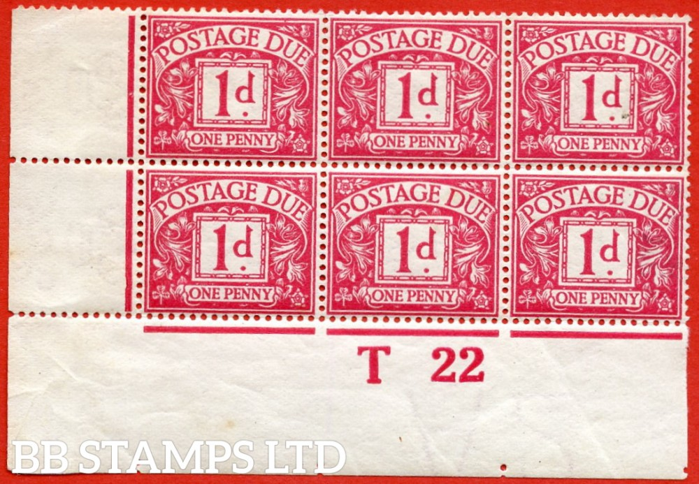 """SG. D2 wj. R2 (1) b. 1d carmine. SIDEWAYS & REVERSED WATERMARK.  A super UNMOUNTED MINT """" control T22 imperf """" block of 6 which is currently unpriced in SG."""