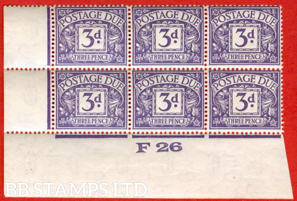 """SG. D14. 3d dull violet. A superb UNMOUNTED MINT control """" F26 imperf """" block of 6. A very scarce multiple."""