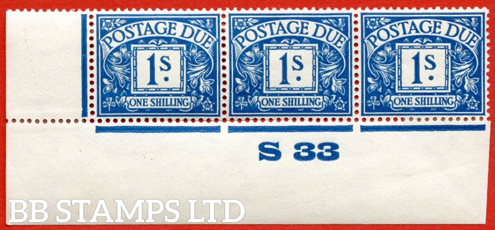 """SG. D17. R17. 1/- deep blue. A fine lightly mounted mint """" control S33 imperf """" strip of 3. A very scarce multiple."""