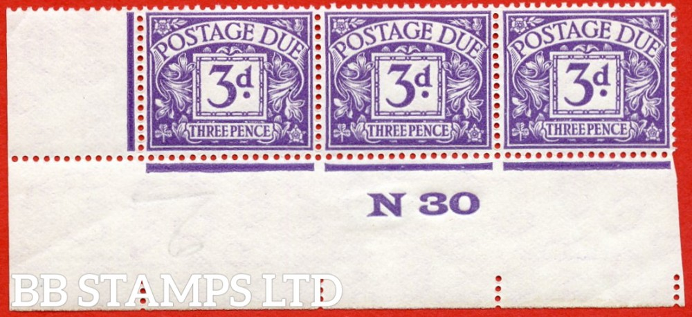 """SG. D14. R14. 3d dull violet. A very fine UNMOUNTED MINT ( mounted in the margin only ) """" control N30 imperf """" strip of 3."""