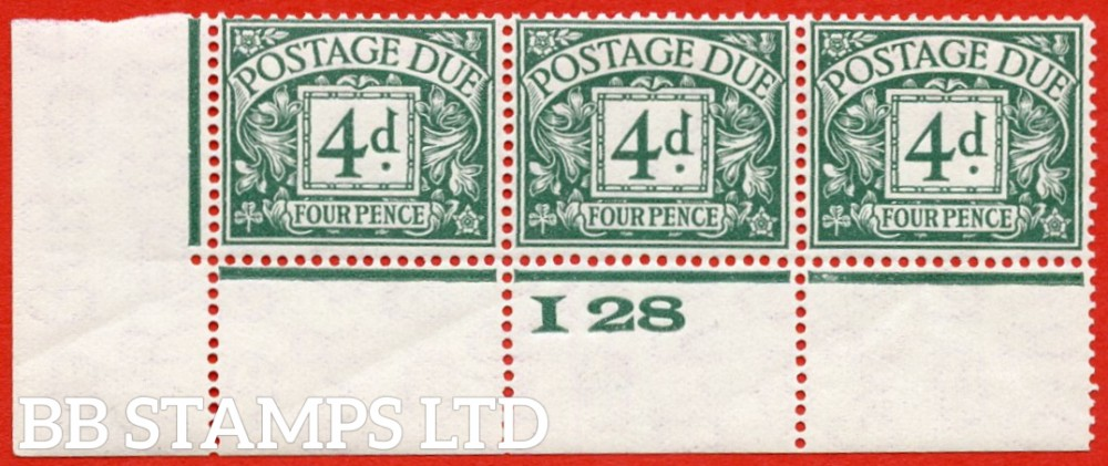 "SG. D15. R15. 4d dull grey - green. A fine UNMOUNTED MINT ( mounted in the margin only ) "" control I28 perf "" strip of 3. A very scarce multiple."