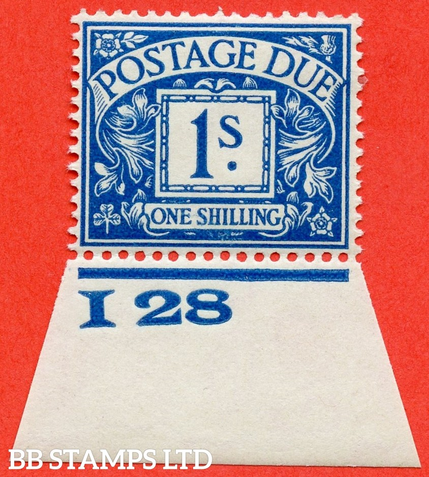 """SG. D17. R17. 1/- deep blue. A fine mounted mint control """" I28 imperf """" example."""