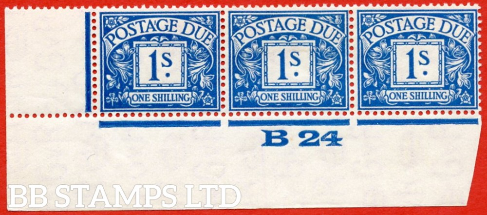 """SG. D17. R17. 1/- deep blue. A fine lightly mounted mint """" control B24 imperf """" strip of 3. A scarce multiple."""