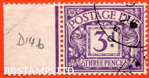 """SG. D14c. R14 b. 3d Dull violet. """" Experimental paper """". A very fine used left hand marginal example of this RARE used stamp."""