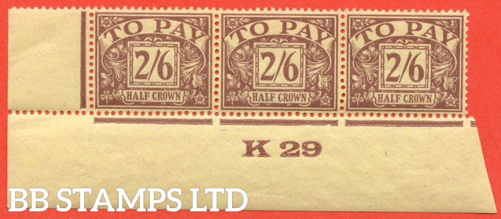 "SG. D18. 2/6 Purple / yellow. A super UNMOUNTED MINT control "" K29 imperf "" strip of 3. A VERY RARE multiple."