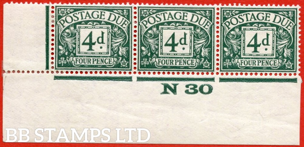 """SG. D15. R15. 4d dull grey - green. A fine lightly mounted mint """" control N30 imperf """" strip of 3. A very scarce multiple."""