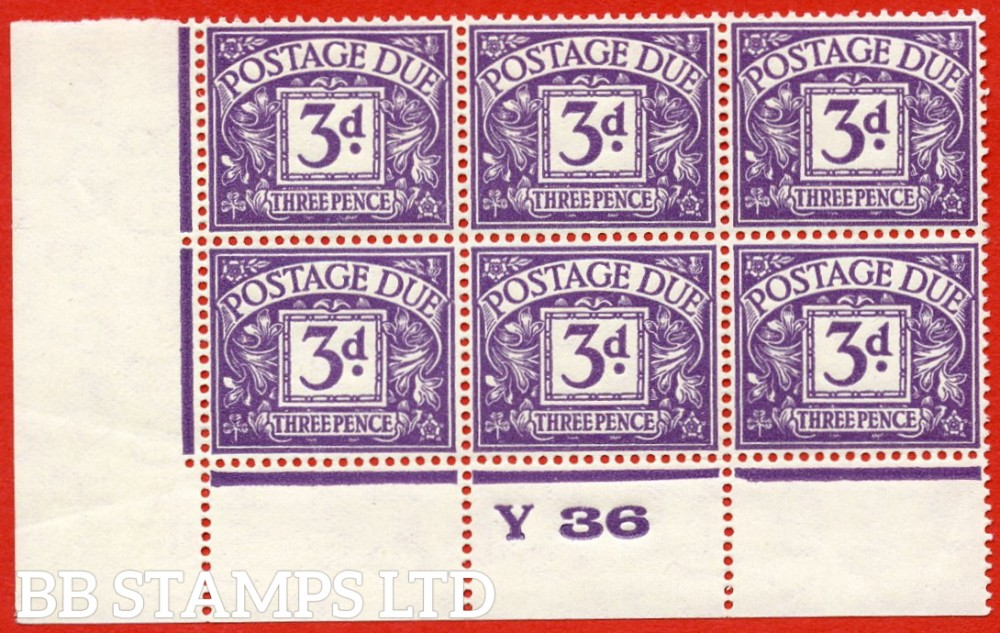 """SG. D14. R14. 3d dull violet. A superb UNMOUNTED MINT """" control Y36 perf """" block of 6."""