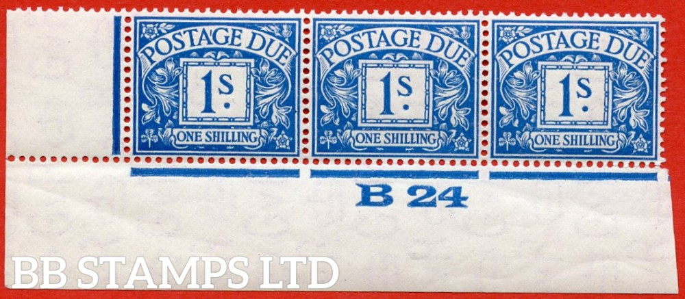 """SG. D17. R17. 1/- deep blue. A superb UNMOUNTED MINT """" control B24 imperf """" strip of 3. A scarce multiple."""