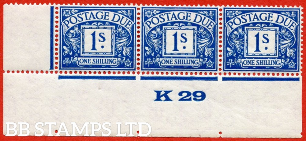 """SG. D17. R17. 1/- deep blue. A superb UNMOUNTED MINT ( mounted in the margin only ) """" control K29 imperf """" strip of 3. A very scarce multiple."""