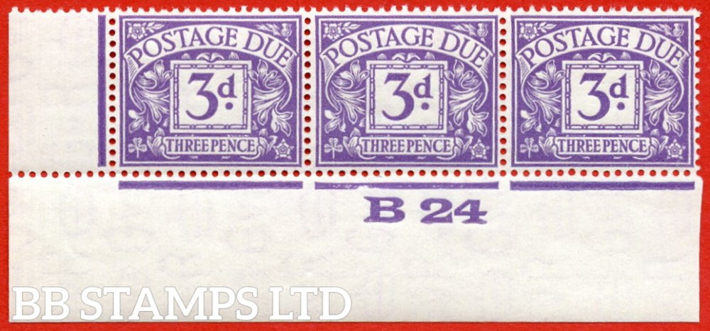 """SG. D14. R14. 3d dull violet. A superb UNMOUNTED MINT ( mounted in the margin only ) control """" B24 imperf """" strip of 3."""