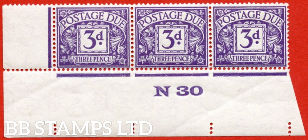 """SG. D14. R14. 3d dull violet. A fine lightly mounted mint """" control N30 imperf """" strip of 3."""