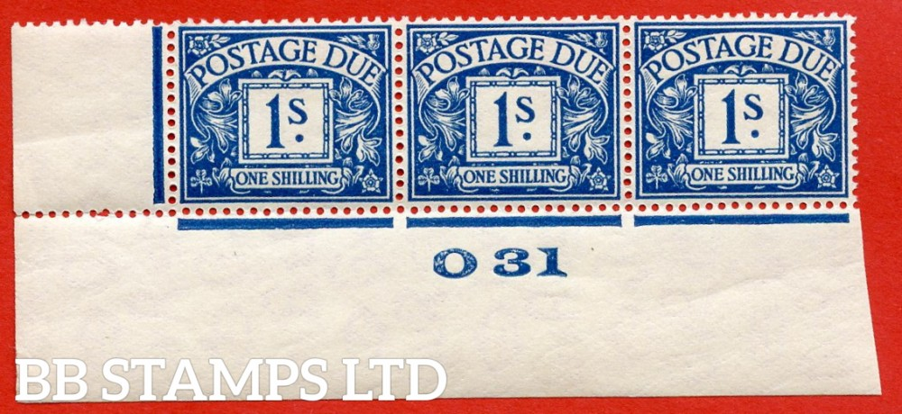 """SG. D17. R17. 1/- deep blue. A fine lightly mounted mint """" control O31 imperf """" strip of 3. A very scarce multiple."""
