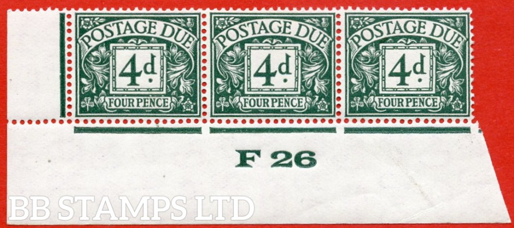 """SG. D15. R15. 4d dull grey - green. A fine UNMOUNTED MINT """" control F26 imperf """" strip of 3. A very scarce multiple."""