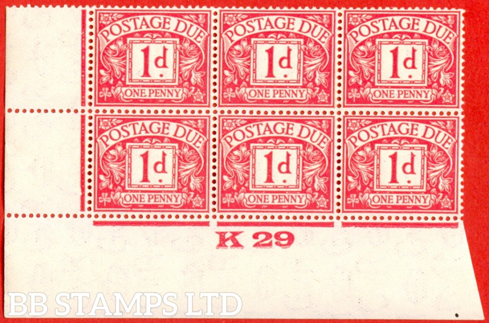 """SG. D11. 1d carmine. A superb UNMOUNTED MINT control """" K29 imperf """" block of 6. A very scarce multiple."""