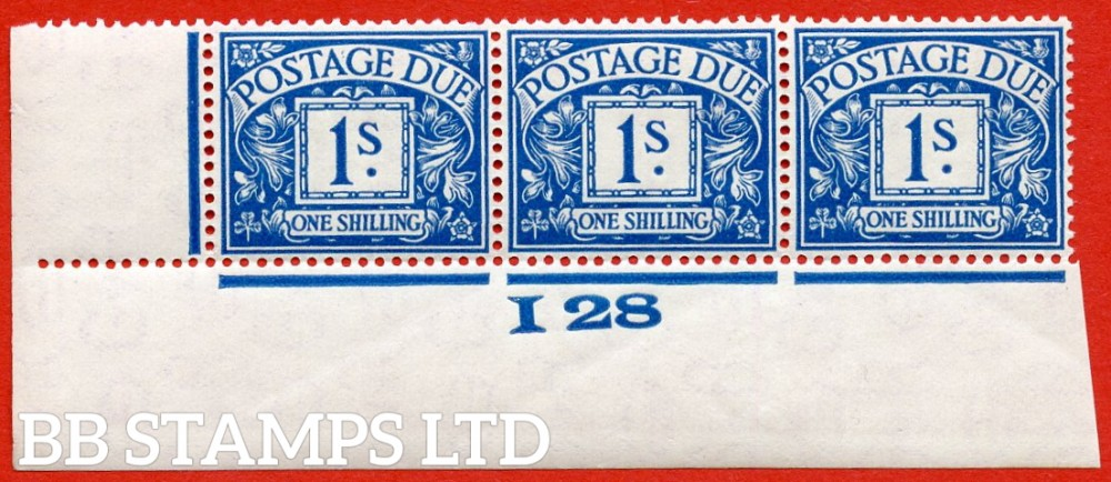 """SG. D17. R17. 1/- deep blue. A fine lightly mounted mint """" control I28 imperf """" strip of 3. A very scarce multiple."""