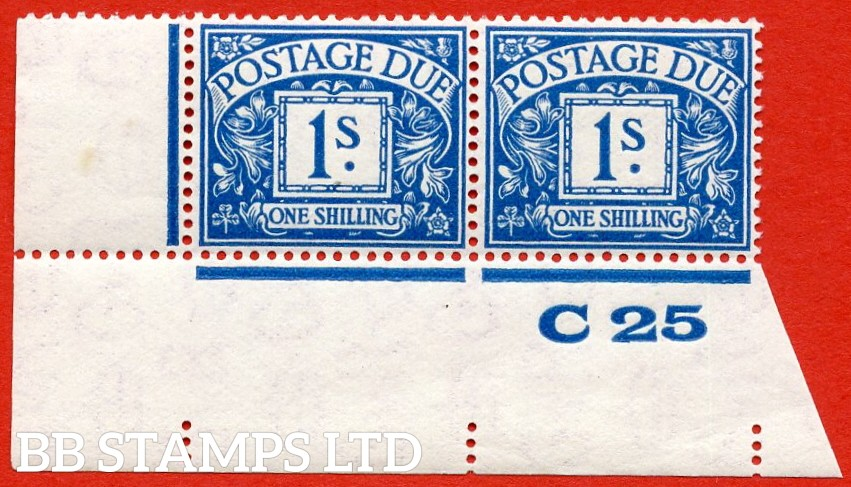 """SG. D17. R17. 1/- deep blue. A superb UNMOUNTED MINT ( mounted in the margin only ) """" control C25 imperf """" bottom left hand corner marginal pair."""