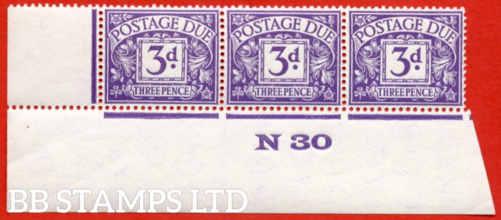 "SG. D14. R14. 3d dull violet. A superb UNMOUNTED MINT "" control N30 imperf "" strip of 3."