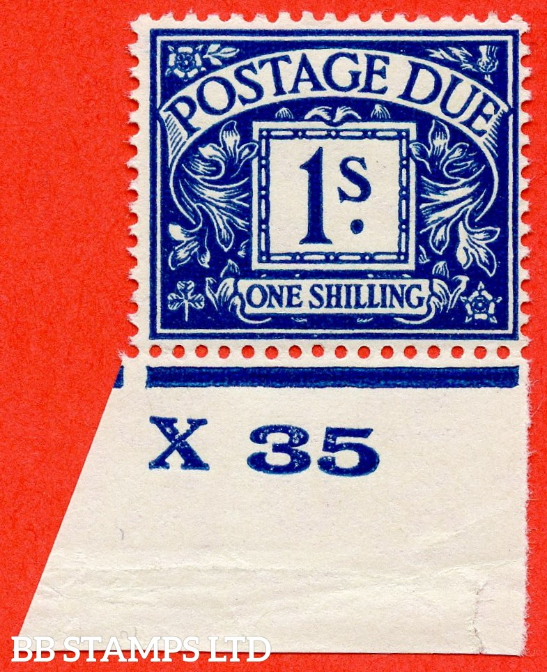 """SG. D17. R17. 1/- deep blue. A fine UNMOUNTED MINT control  """" X35 imperf """"example."""