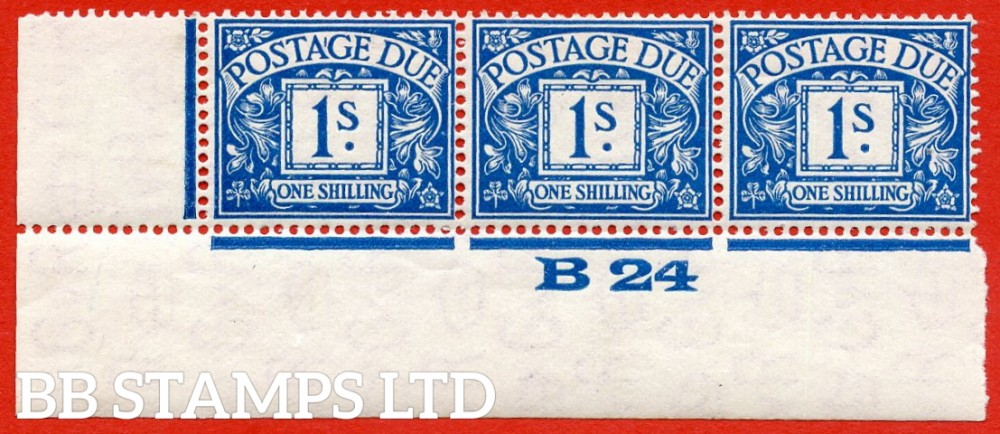 """SG. D17. R17. 1/- deep blue. A superb UNMOUNTED MINT ( mounted in the margin only ) """" control B24 imperf """" strip of 3. A scarce multiple."""