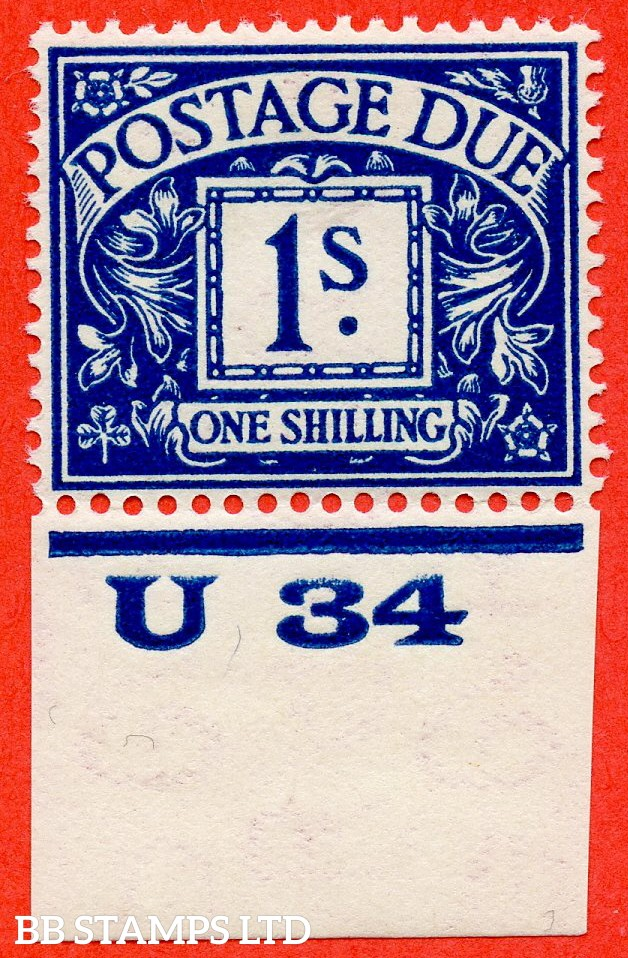 """SG. D17. R17. 1/- deep blue. A fine UNMOUNTED MINT control  """" U34 imperf """"example."""