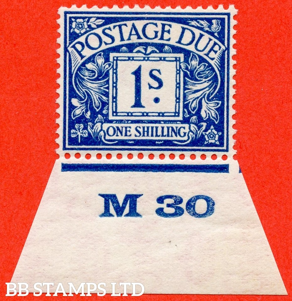 """SG. D17. R17. 1/- deep blue. A fine UNMOUNTED MINT control  """" M30 imperf """"example."""