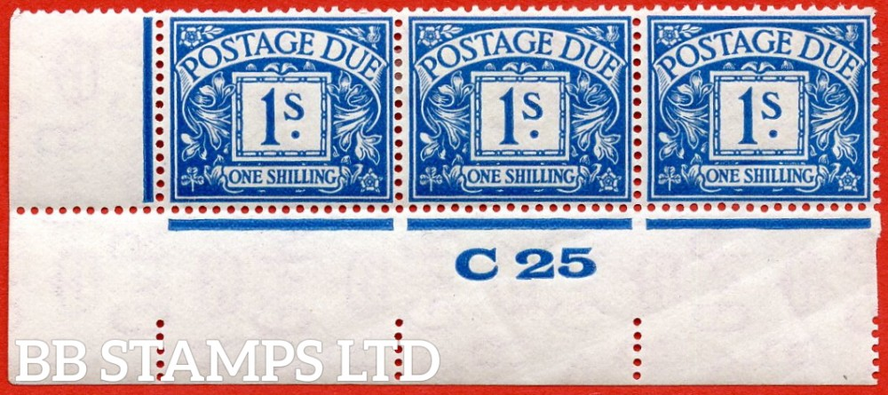 """SG. D17. R17. 1/- deep blue. A fine lightly mounted mint """" control C25 imperf """" strip of 3. a scarce multiple."""