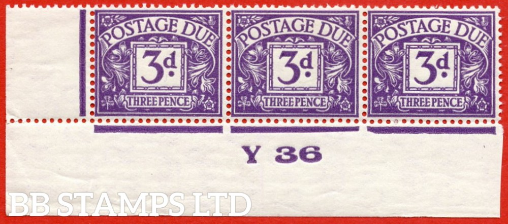 """SG. D14. R14. 3d dull violet. A superb UNMOUNTED MINT ( mounted in the margin only ) """" control Y36 imperf """" strip of 3."""