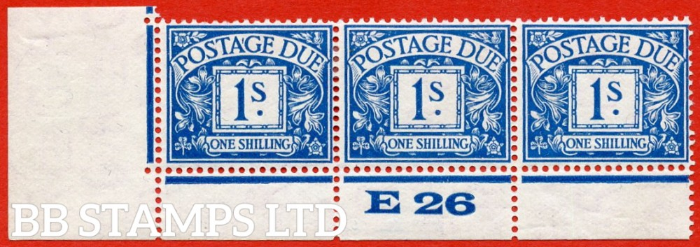 """SG. D17. R17. 1/- deep blue. A fine lightly mounted mint """" control E26 perf """" strip of 3. A very scarce multiple."""