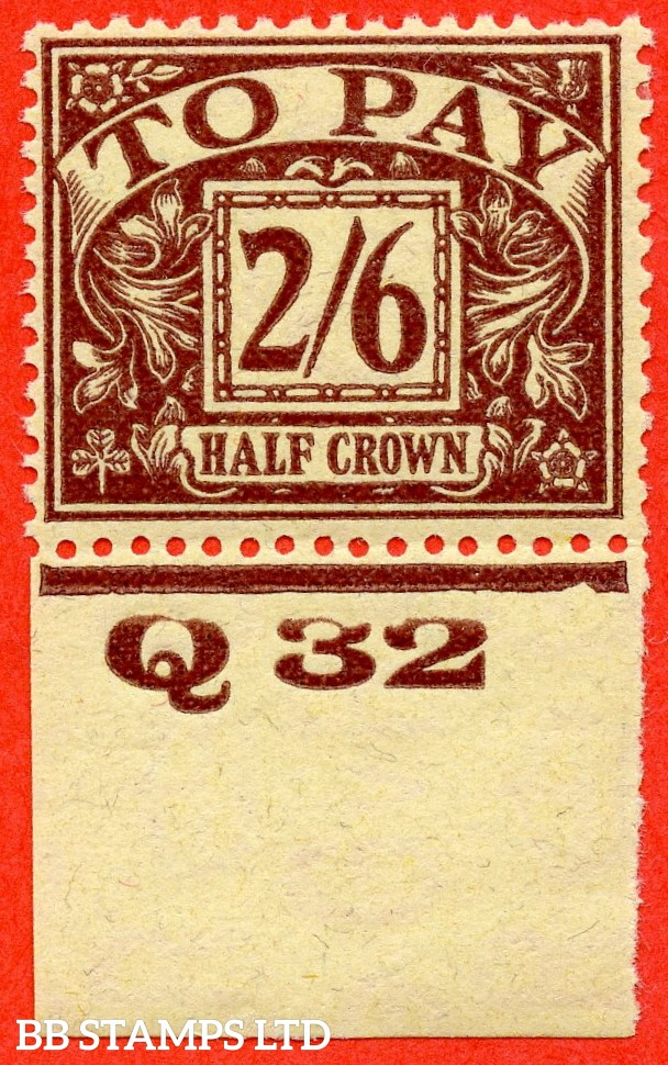 """SG. D18. R18. 2/6 Purple / yellow. A fine mounted mint control """" Q32 imperf """" example."""