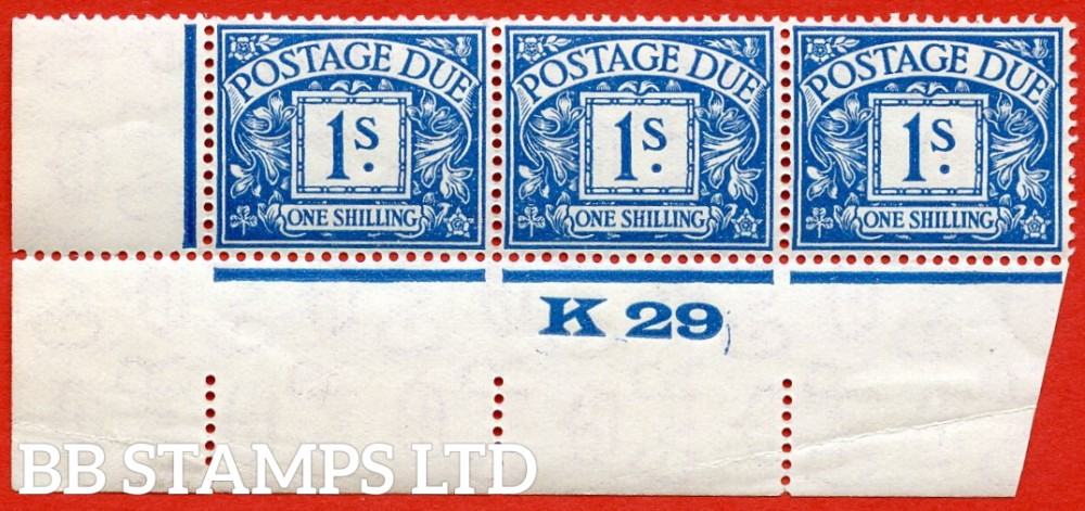 """SG. D17. R17. 1/- deep blue. A superb UNMOUNTED MINT """" control K29 imperf """" strip of 3. A very scarce multiple."""