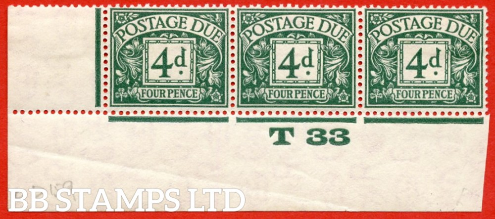 "SG. D15. R15. 4d dull grey - green. A fine lightly mounted mint "" control T33 imperf "" strip of 3. A very scarce multiple."