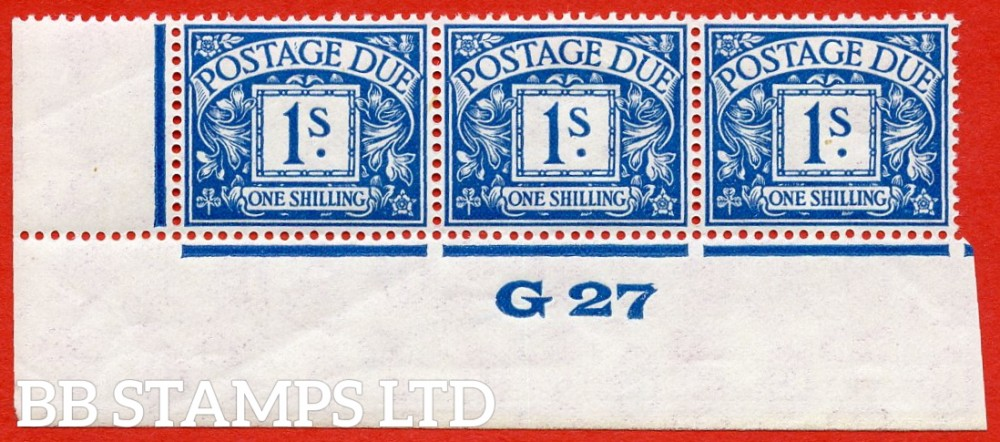 """SG. D17. R17. 1/- deep blue. A fine lightly mounted mint """" control G27 imperf """" strip of 3. A very scarce multiple."""