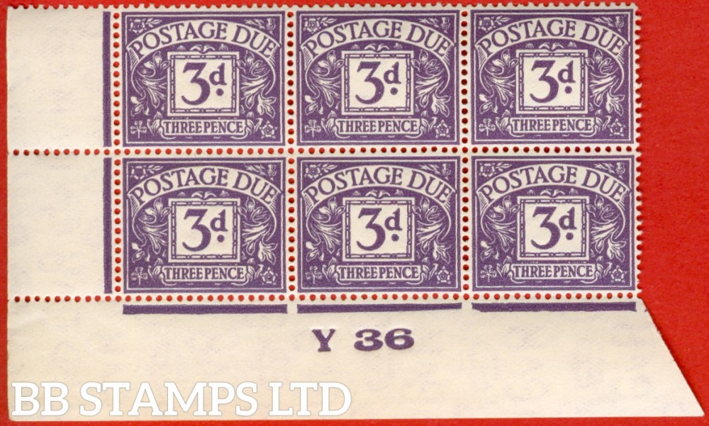 """SG. D14. 3d dull violet. A superb UNMOUNTED MINT control """" Y36 imperf """" block of 6. A very scarce multiple."""