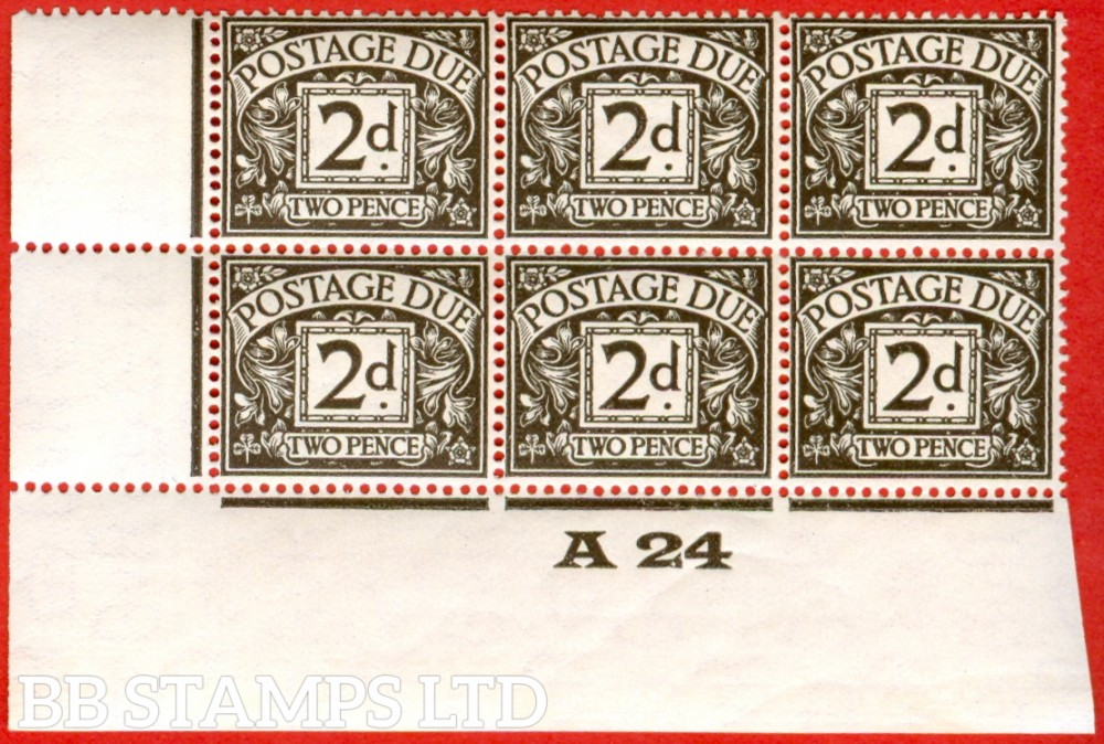 """SG. D13. 2d agate. A superb UNMOUNTED MINT control """" A24 imperf """" block of 6. A very scarce multiple."""