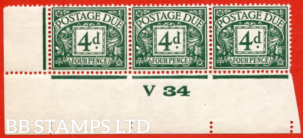 "SG. D15. R15. 4d dull grey - green. A superb UNMOUNTED MINT "" control V34 imperf "" strip of 3. A very scarce multiple."